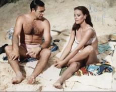 CLAUDINE AUGER HAND SIGNED 8x10 PHOTO+COA      GREAT POSE WITH SEAN CONNERY 007