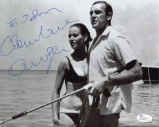CLAUDINE AUGER HAND SIGNED 8x10 PHOTO+JSA      WITH 007 SEAN CONNERY     TO JOHN