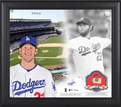 """Clayton Kershaw Los Angeles Dodgers Framed 15"""" x 17"""" Mosaic Collage with Game-Used Baseball-Limited Edition of 99"""