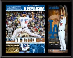 Clayton Kershaw Los Angeles Dodgers No-Hitter 12'' x 15'' Sublimated Plaque - Mounted Memories