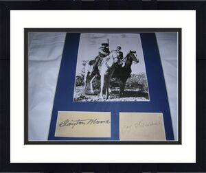 """CLAYTON MOORE as The LONE RANGER and JAY SILVERHEELS as TONTO in TV Series """"THE LONE RANGER"""" (CLAYTON Passed Away 1999 and JAY 1980) 11x14 MATTED SIGNATURES and PHOTO"""