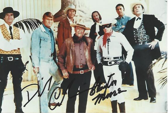 CLAYTON MOORE - Best Known as the LONE RANGER (Passed Away 1999) and DAVID CARRADINE - Best Known for KUNG FU (Passed Away 2009) Signed 6x4 Color Photo