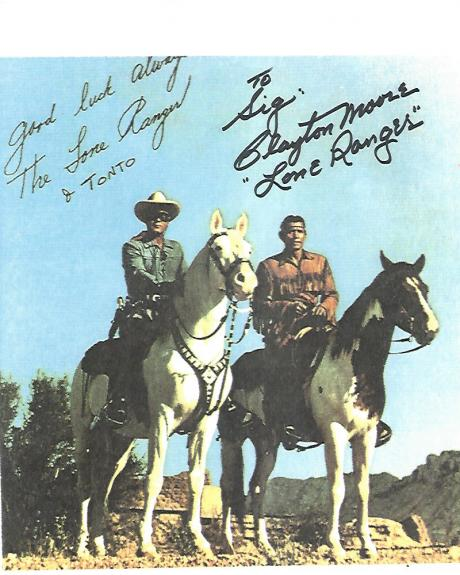 CLAYTON MOORE - Best Known for Playing THE LONE RANGER in TV Series from 1949-51 and 1954-1957 (Passed Away 1999) Inscribed to a Fan - Signed 8.5x11 Color Paper Thin