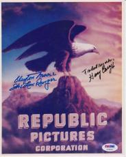 Clayton Moore (d.1999) Harry Carey Jr. Signed Photograph Autograph Photo PSA DNA