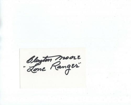 CLAYTON MOORE HAND SIGNED 3x5 CARD+COA         SIGNED IN BLACK       LONE RANGER