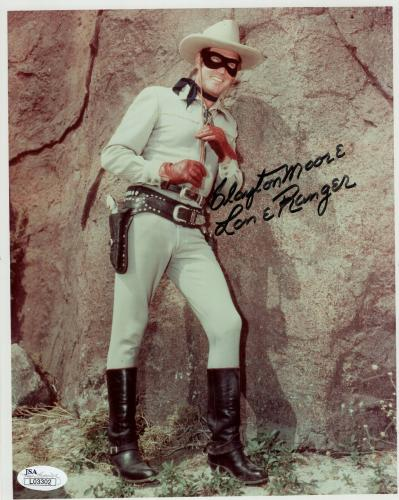 CLAYTON MOORE HAND SIGNED 8x10 COLOR PHOTO     AMAZING POSE  LONE RANGER     JSA