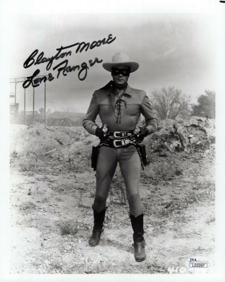 CLAYTON MOORE HAND SIGNED 8x10 PHOTO      AWESOME POSE    THE LONE RANGER    JSA