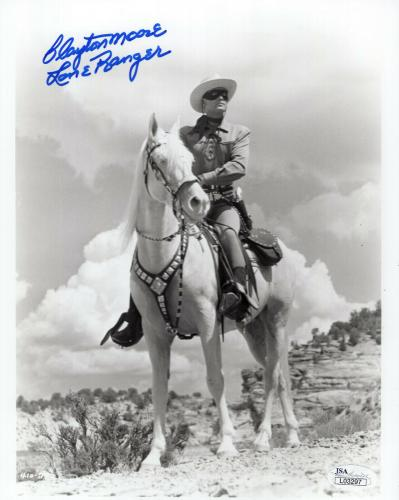 CLAYTON MOORE HAND SIGNED 8x10 PHOTO     BEST POSE EVER THE LONE RANGER      JSA