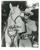 CLAYTON MOORE HAND SIGNED 8x10 PHOTO       LONE RANGER FEEDING SILVER        JSA