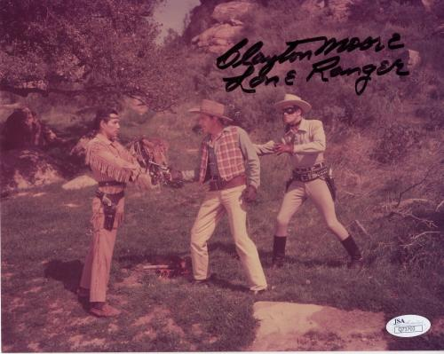 CLAYTON MOORE HAND SIGNED 8x10 PHOTO       RARE      BEST LONE RANGER POSE   JSA