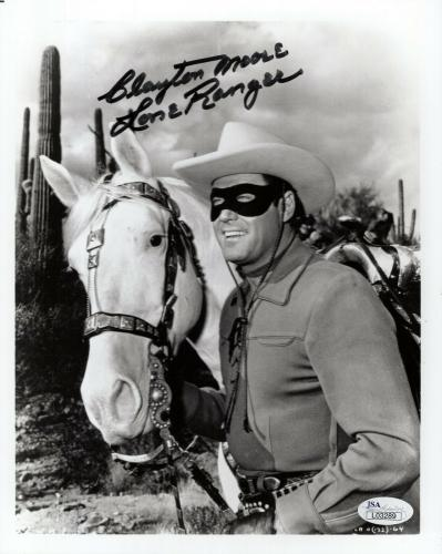 CLAYTON MOORE HAND SIGNED 8x10 PHOTO       THE LONE RANGER WITH SILVER       JSA
