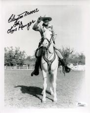 CLAYTON MOORE HAND SIGNED 8x10 PHOTO       THE LONE RANGER+SILVER      JSA