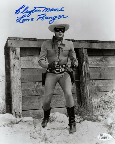 CLAYTON MOORE HAND SIGNED 8x10 PHOTO     WITH GUNS DRAWN   THE LONE RANGER   JSA