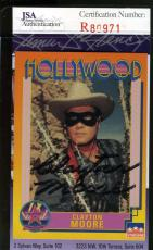 CLAYTON MOORE Hand Signed JSA COA Hollywood Walk Fame Card Autographed Authentic