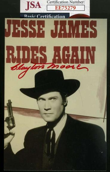 Clayton Moore Jsa Coa Hand Signed Jesse James Photo Autograph
