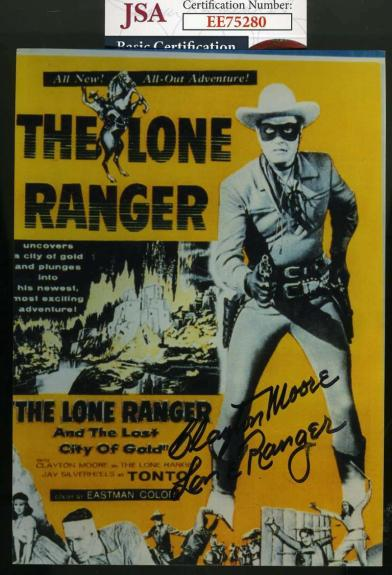 CLAYTON MOORE JSA Coa Hand Signed Lone Ranger 5x7 Photo Autograph