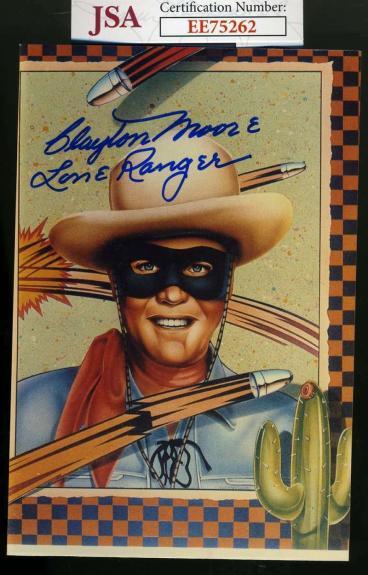 CLAYTON MOORE JSA Coa Hand Signed Lone Ranger Photo Autograph