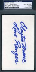 Clayton Moore Lone Ranger Psa/dna Hand Signed 3x5 Index Card Authentic Autograph