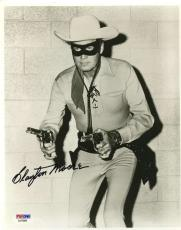 Clayton Moore Lone Ranger Psa/dna Signed 8x10 Photo Certed Autograph