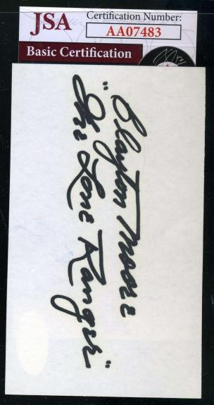 Clayton Moore   Lone Ranger Signed Jsa Coa 3x5 Index Card Autograph Authentic