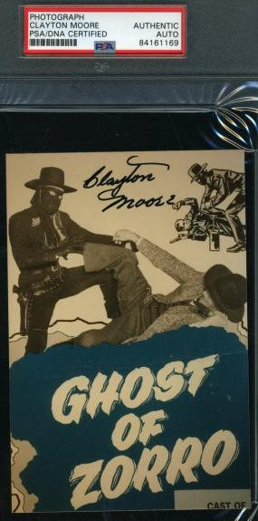 Clayton Moore Psa Dna Coa Autograph Zorro Photo Hand Signed Slabbed