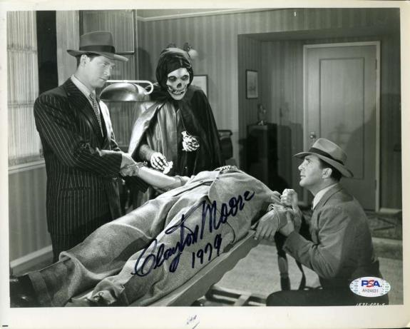 Clayton Moore Psa Dna Coa Signed 8x10 Crimson Ghost Photo Autograph