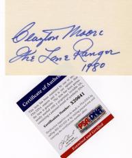 CLAYTON MOORE Signed 3x5 The Lone Ranger W/ PICTURE Auto PSA/DNA COA Autograph