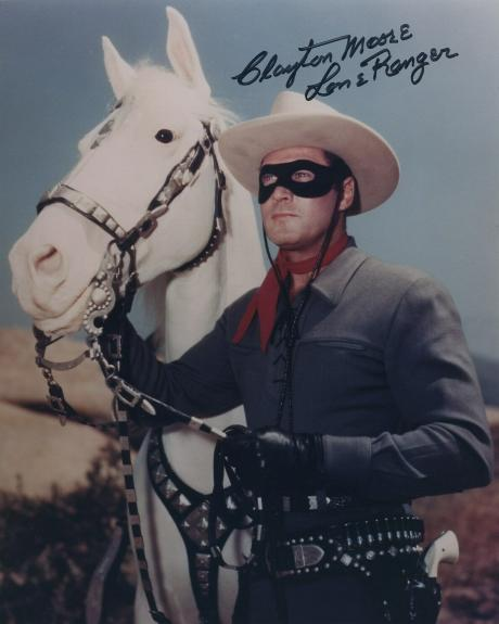 Clayton Moore Signed Autographed Color The Lone Ranger Photo Wow!!