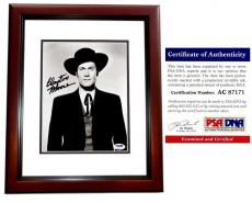 Clayton Moore Signed - Autographed Jesse James 8x10 inch Photo - The Lone Ranger - Deceased 1999 - MAHOGANY CUSTOM FRAME - PSA/DNA Certificate of Authenticity (COA)