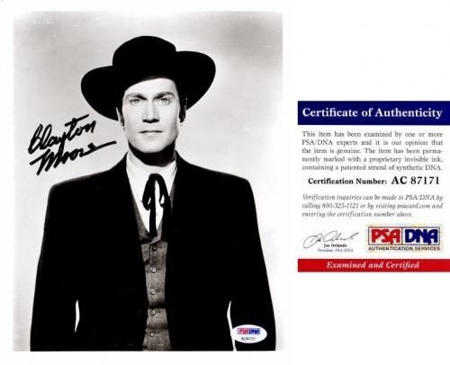 Clayton Moore Signed - Autographed Jesse James 8x10 inch Photo - The Lone Ranger - Deceased 1999 - PSA/DNA Certificate of Authenticity (COA)
