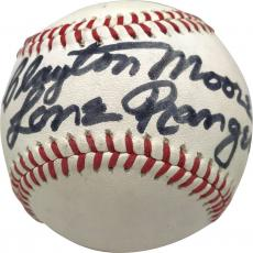 Clayton Moore Signed Autographed Lone Ranger Baseball JSA Authentic
