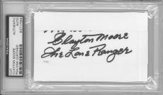 Clayton Moore Signed The Lone Ranger Authentic 3x5 Index Card Slabbed PSA/DNA