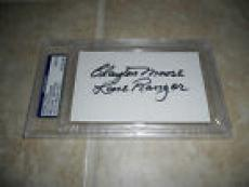 Clayton Moore The Loan Ranger Signed 3x5 Index Card PSA Certified & Slabbed #1