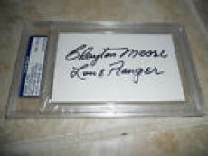 Clayton Moore The Loan Ranger Signed 3x5 Index Card PSA Certified & Slabbed #2