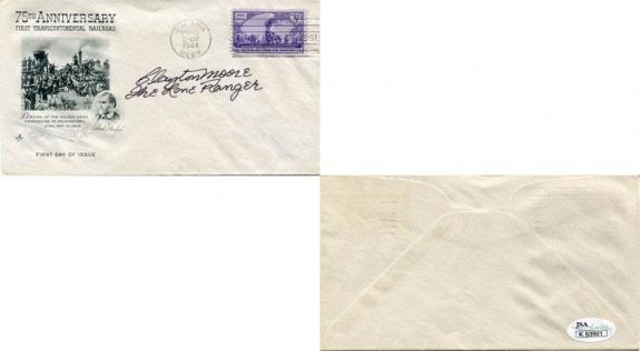Clayton Moore The Lone Ranger Autographed First Day Envelope (JSA)