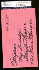 Clayton Moore The Lone Ranger Jsa Authentic Signed 3x5 Index Card Autograph