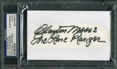 "Clayton Moore ""The Lone Ranger"" Signed 1.5x4.75 Cut Signature PSA/DNA Slabbed"