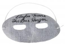 "Clayton Moore ""The Lone Ranger"" Signed Lone Ranger Mask BAS #D23796"