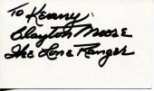 Clayton Moore The Lone Ranger Western Television Actor Signed Card Autograph