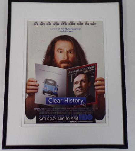 Clear History 2013 HBO Framed 11x14 ORIGINAL Advertisement Larry David
