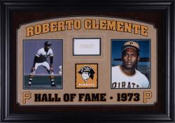 "Roberto Clemente Pittsburgh Pirates Deluxe Horizontal Framed Collectible with 2.5"" x 3.5"" Autographed Cut"
