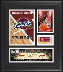 """Cleveland Cavaliers Team Logo Framed 15"""" x 17"""" Collage with Team-Used Baseketball"""