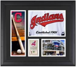 Cleveland Indians Team Logo Framed 15'' x 17'' Collage with Piece of Game-Used Ball - Mounted Memories