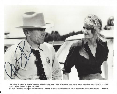 """CLINT EASTWOOD as RED GARNETT in """"A PERFECT WORLD"""" Signed 10x8 B/W Photo"""