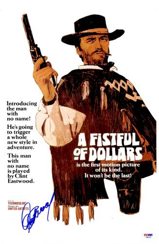 """Clint Eastwood Autographed 12"""" x 18"""" A Fistful of Dollars Movie Poster - BAS COA"""