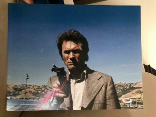 CLINT EASTWOOD HAND SIGNED OVERSIZED 11x14 COLOR PHOTO+PSA LETTER    DIRTY HARRY