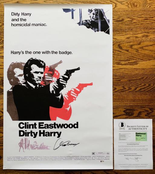 CLINT EASTWOOD SIGNED DIRTY HARRY 24x36 POSTER AUTHENTIC BECKETT BAS LOA #A79490