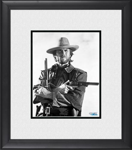 """Clint Eastwood The Good, the Bad and the Ugly Framed 8"""" x 10"""" Holding Guns Photograph"""