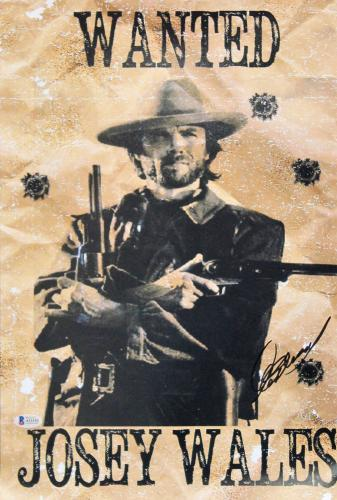 Clint Eastwood The Outlaw Josey Wales Signed 12x18 Movie Poster BAS #A11101