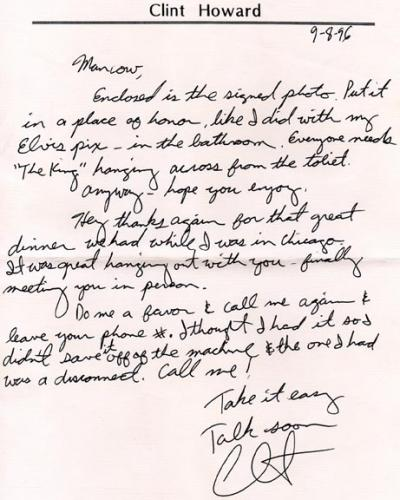 Clint Howard Autographed Signed Handwritten Letter    AFTAL